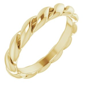 14K Yellow 3 mm Twisted Band Size 4