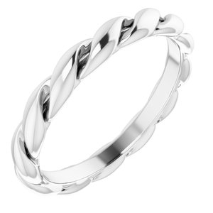 14K White 3 mm Twisted Band Size 6.5