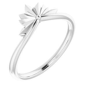 14K White Starburst Ring