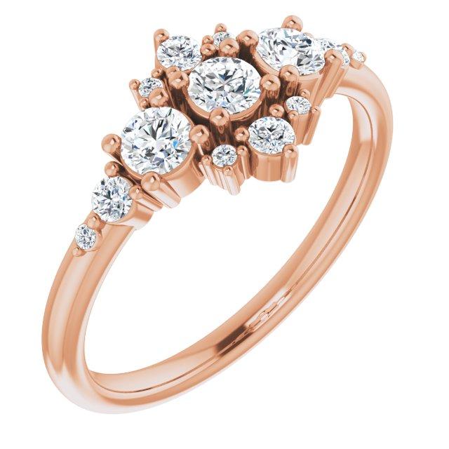 14K Rose 1/2 CTW Diamond Stackable Ring