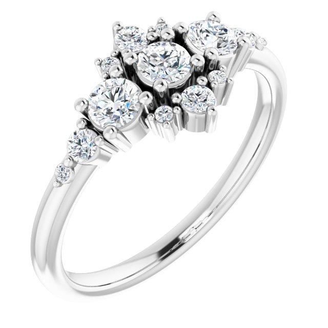 14K White 1/2 CTW Diamond Stackable Ring