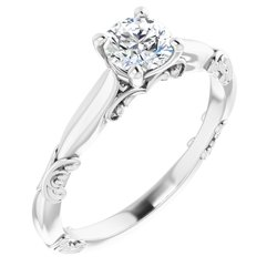 124024 / Engagement Ring / Neosadený / Sterling Silver / round / 5.2 Mm / Polished / Sculptural Solitaire Engagement Ring Mounting