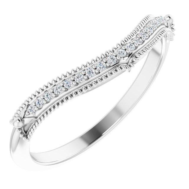 14K White .04 CTW Diamond Vintage-Inspired  Matching Band