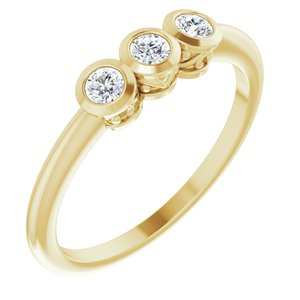 14K Yellow 1/5 CTW Diamond Three-Stone Bezel-Set Ring