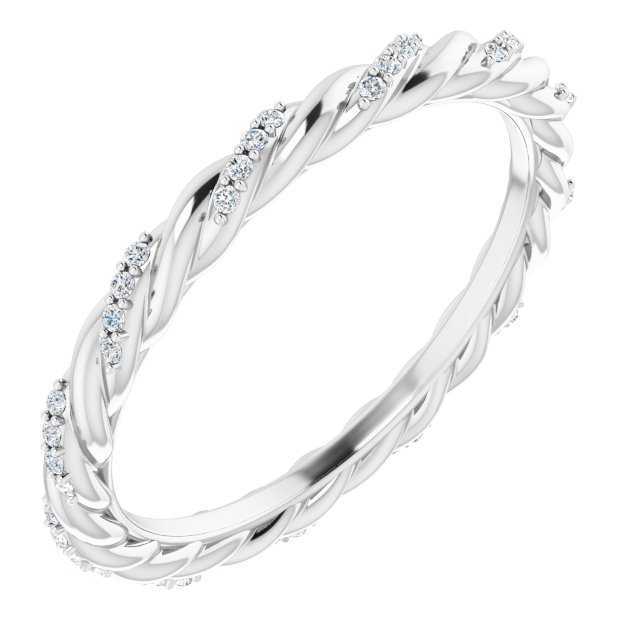 14K White 1/8 CTW Diamond Rope Eternity Band Size 6