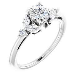 124014 / Unset / Sterling Silver / 5.2 Mm / Polished / Engagement Ring Mounting