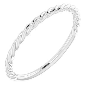 14K White 1.5 mm Twisted Rope Band Size 9
