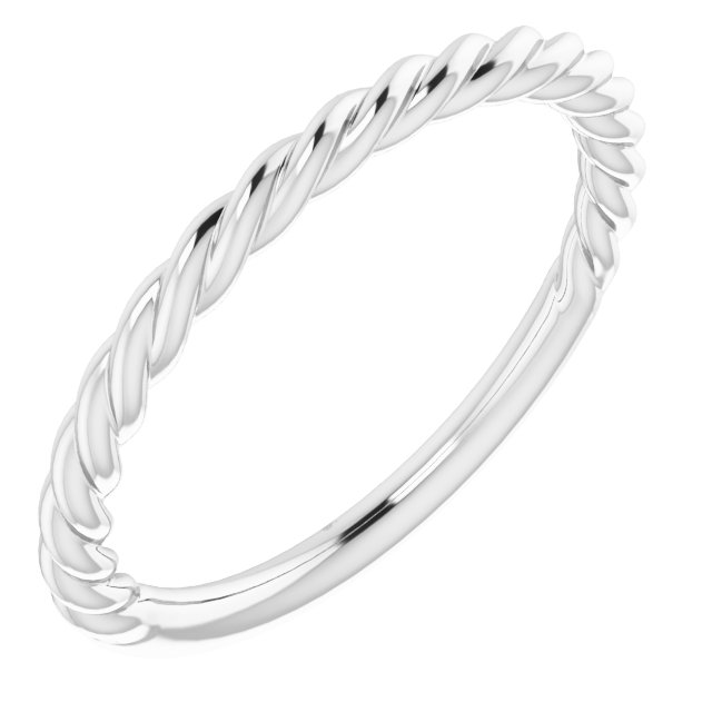 14K White 1.5 mm Twisted Rope Band Size 5