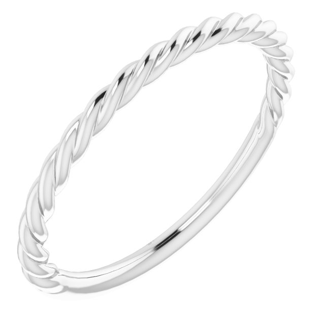 14K White 1.5 mm Twisted Rope Band Size 8
