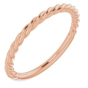 14K Rose 1.5 mm Twisted Rope Band Size 6