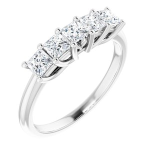14K White 3/4 CTW Set Anniversary Band