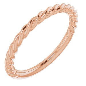 14K Rose 1.5 mm Twisted Rope Band Size 4