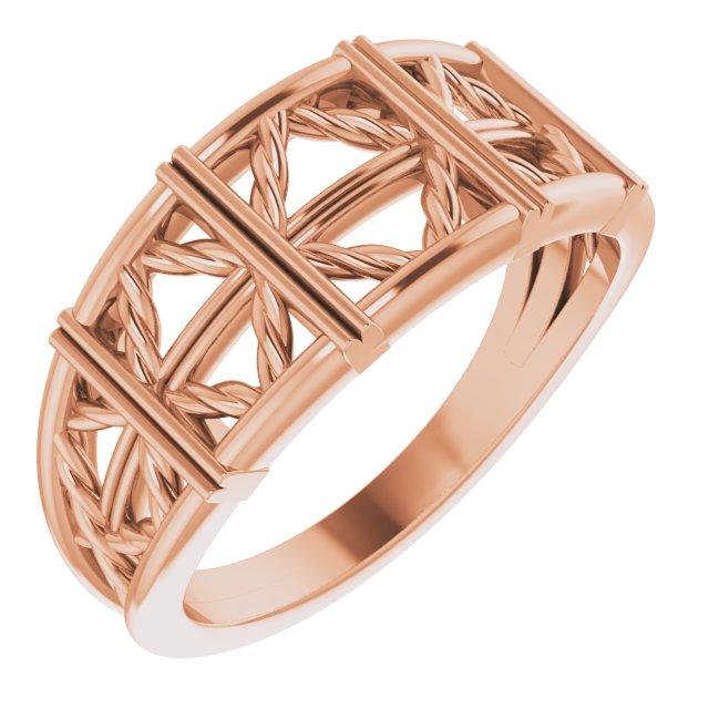 14K Rose Stackable Lattice Ring