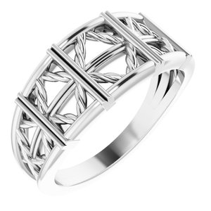 14K White Stackable Lattice Ring