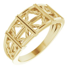 14K Yellow Stackable Lattice Ring