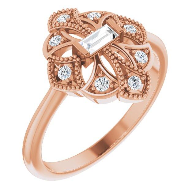 14K Rose 1/6 CTW Diamond Vintage-Inspired Ring