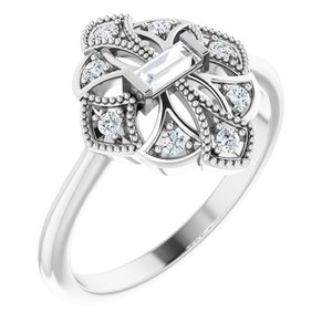 14K White 1/6 CTW Diamond Vintage-Inspired Ring