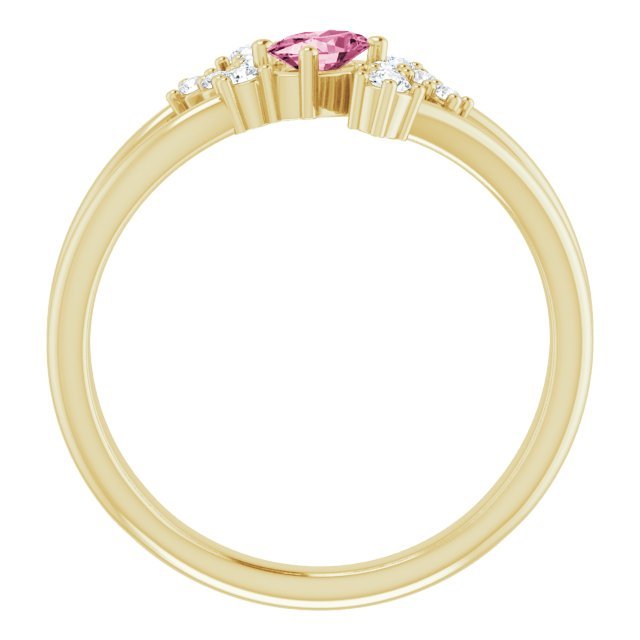 14K Yellow Pink Tourmaline & 1/8 CTW Diamond Bypass Ring