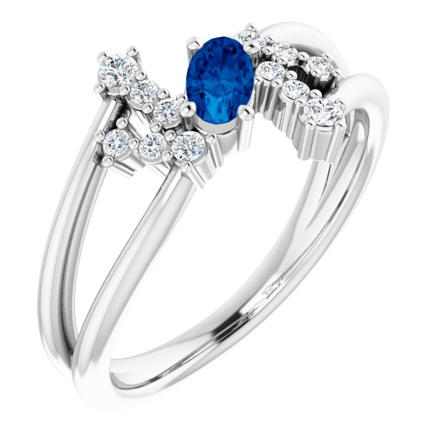 14K White Natural Blue Sapphire & 1/8 CTW Natural Diamond Bypass Ring