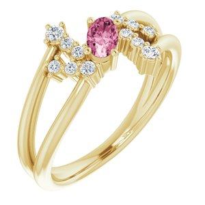 14K Yellow Pink Tourmaline & 1/8 CTW Diamond Bypass Ring