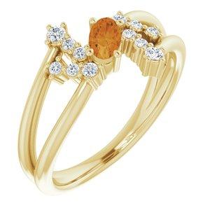 14K Yellow Citrine & 1/8 CTW Diamond Bypass Ring