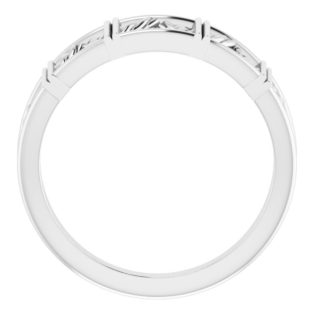 14K White Stackable Lattice Ring