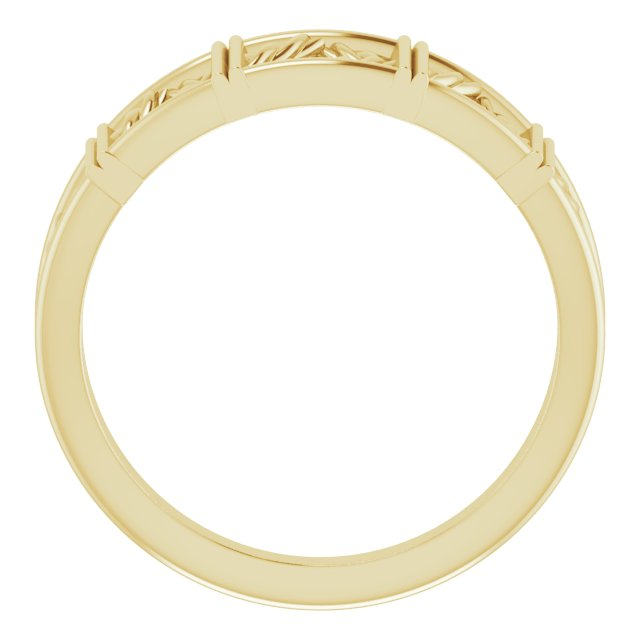 14K Yellow Stackable Lattice Ring
