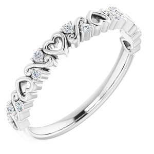 14K White .08 CTW Heart Diamond Anniversary Band