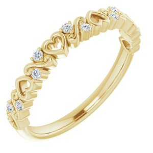 14K Yellow .08 CTW Heart Diamond Anniversary Band