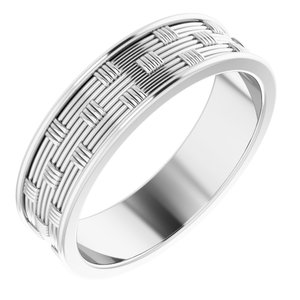 14K White 6 mm Patterned Band Size 11