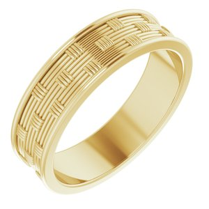 14K Yellow 6 mm Patterned Band Size 11