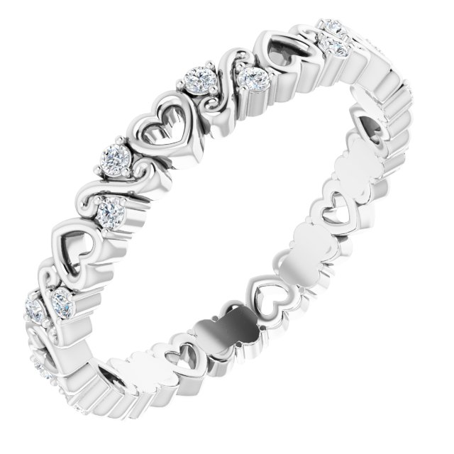 14K White 1/6 CTW Heart Diamond Eternity Band Size 7
