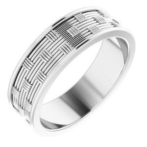 14K White 6 mm Patterned Band Size 8.5