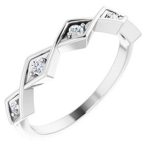14K White 1/10 CTW Diamond Geometric Anniversary Band