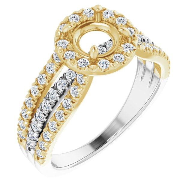 14K White/Yellow 5.8 mm Round 1/2 CTW Diamond Semi-Set Engagement Ring