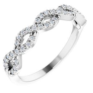 14K White 1/6 CTW French-Set Twist-Style Diamond Anniversary Band