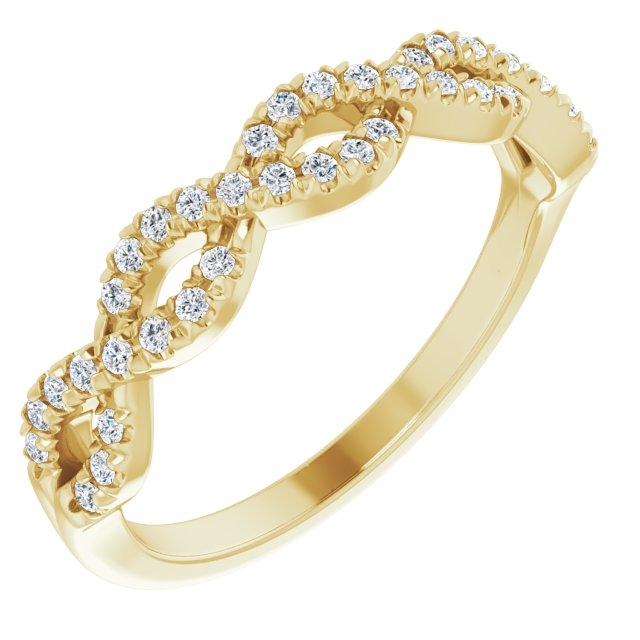 14K Yellow 1/6 CTW French-Set Twist-Style Diamond Anniversary Band