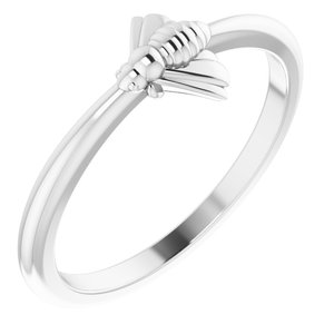 14K White Stackable Bee Ring