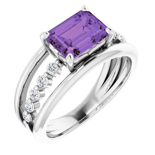 Platinum Amethyst & 1/5 CTW Diamond Ring