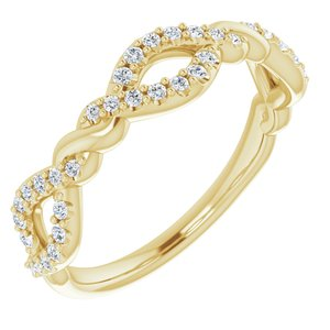 14K Yellow 1/5 CTW Diamond Twisted Anniversary Band