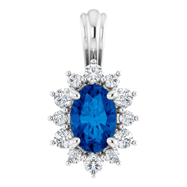 14K White 1/6 CTW Diamond & Sapphire Pendant