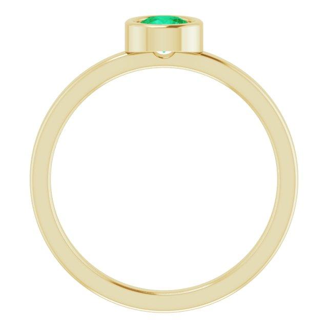 14K Yellow 4.5 mm Round Emerald Ring