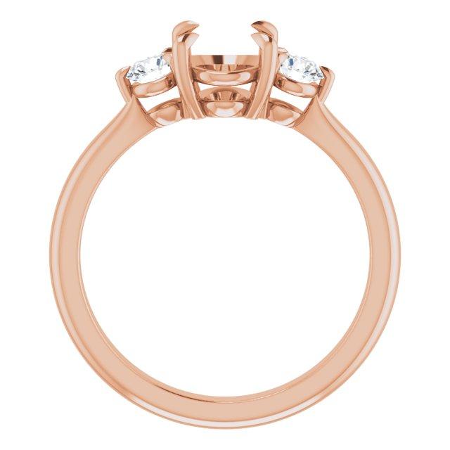 14K Rose 8x6 mm Oval .03 CTW Diamond Semi-Set Engagement Ring