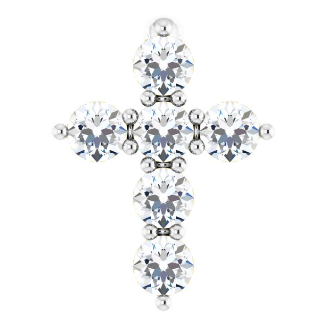 14K White 8.7x6.6 mm 1/6 CTW Diamond Cross Pendant