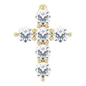 14K Yellow 8.7x6.6 mm 1/6 CTW Diamond Cross Pendant