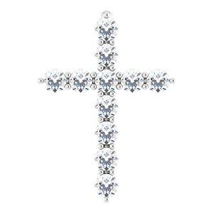 14K White 14.6x10.5 mm 1/4 CTW Diamond Cross Pendant