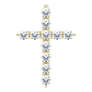 14K Yellow 14.6x10.5 mm 1/4 CTW Diamond Cross Pendant
