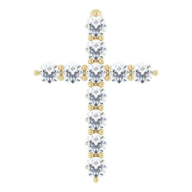14K Yellow 14.6x10.5 mm 1/4 CTW Diamond Cross Pendant