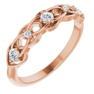 14K Rose 1/5 CTW Diamond Stackable Ring