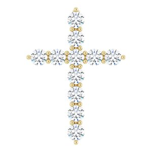 14K Yellow 17.8x12.9 mm 3/8 CTW Diamond Cross Pendant